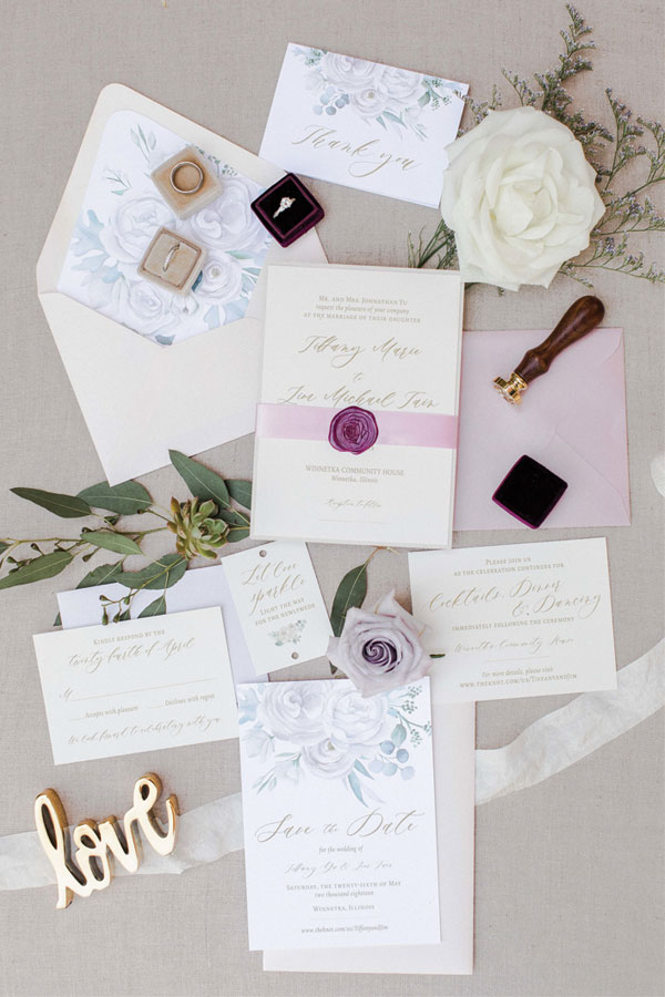 Mauve Wedding Invitations for Chicago Wedding at Winnetka Community House