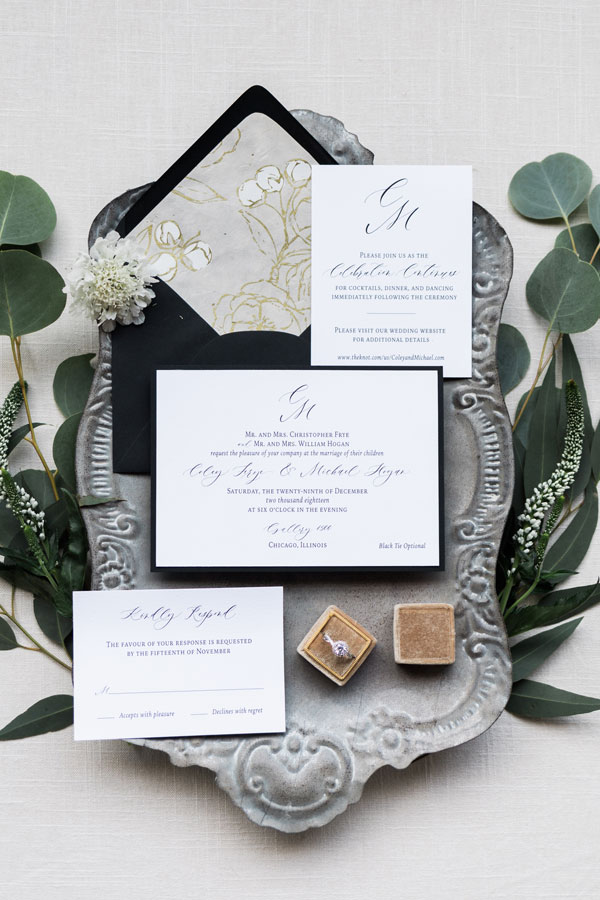 Monogram Wedding Invitation at Gallery 1500 in Chicago by Emery Ann Design