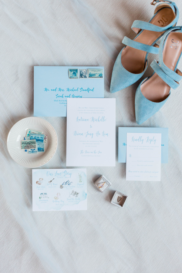 Blue Chicago Wedding Invitation by Emery Ann Design