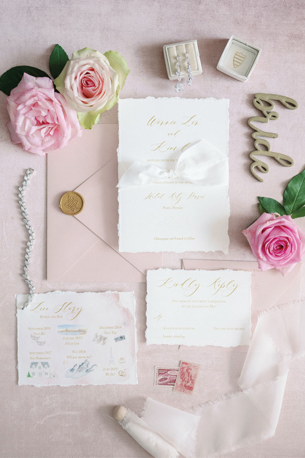 Blush Wedding Invitation for Paris Wedding