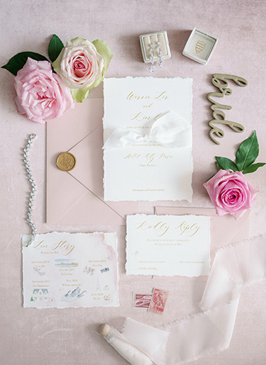 Romantic Blush Wedding Invitation taken at the Ritz Carlton Paris by Emery Ann Design