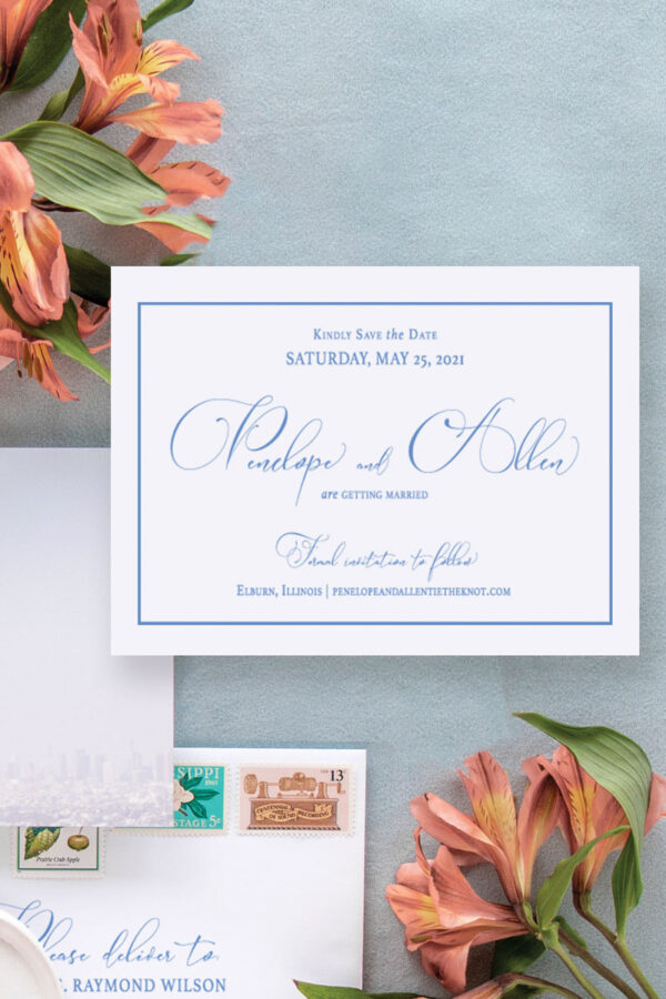 Simple and elegant save the date featuring a simple border and elegant modern calligraphy.