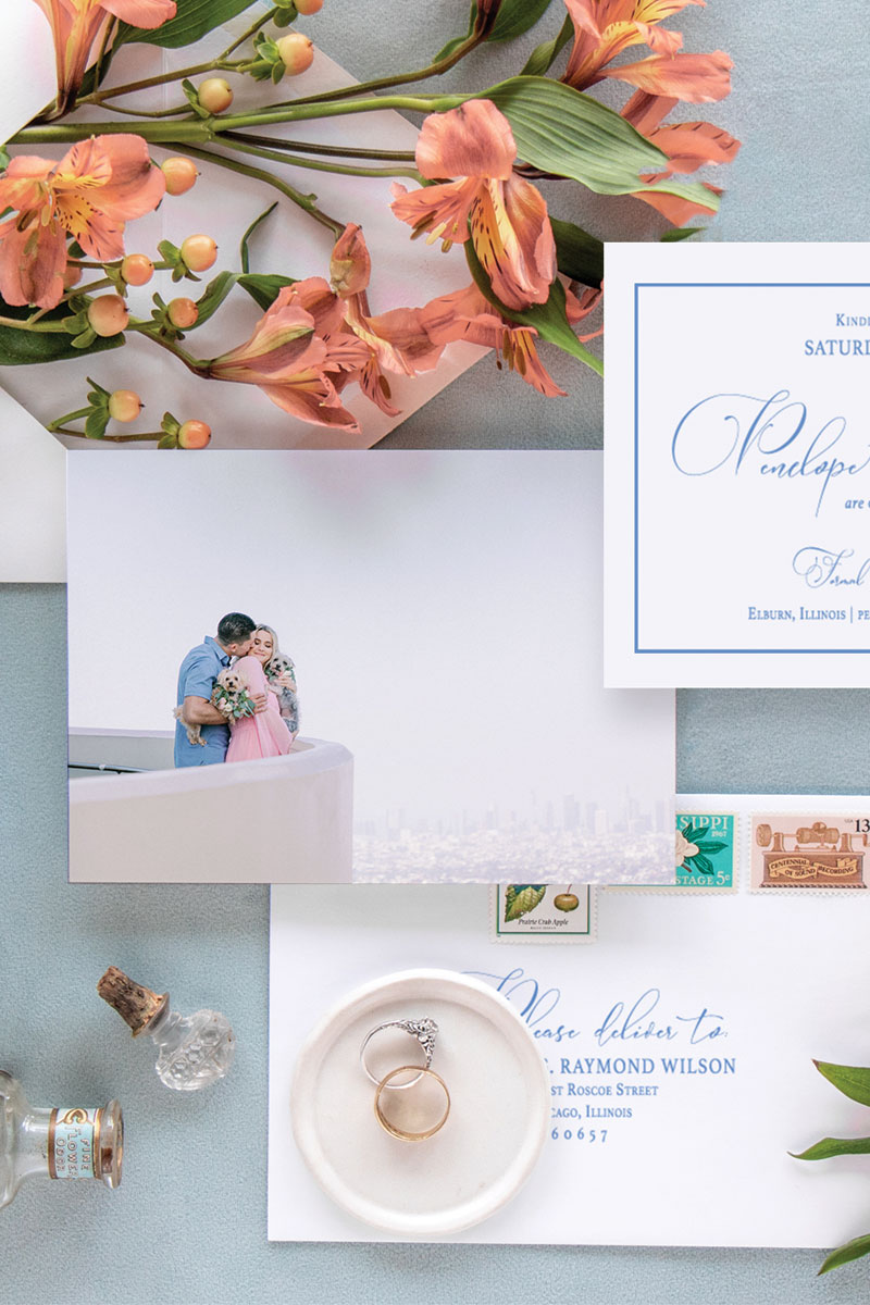 Simple and elegant save the date featuring a simple border and elegant modern calligraphy with option to add engagement photo to back side.