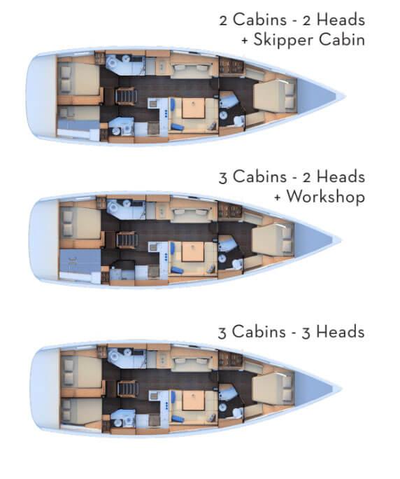 Jeanneau 51 cabin layouts