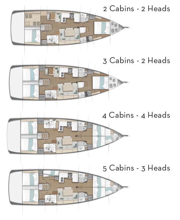 Jeanneau SO490 cabin layouts