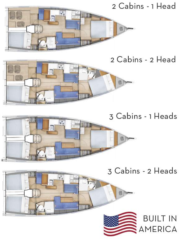 Jeanneau Sun Odyssey 41 cabin layouts