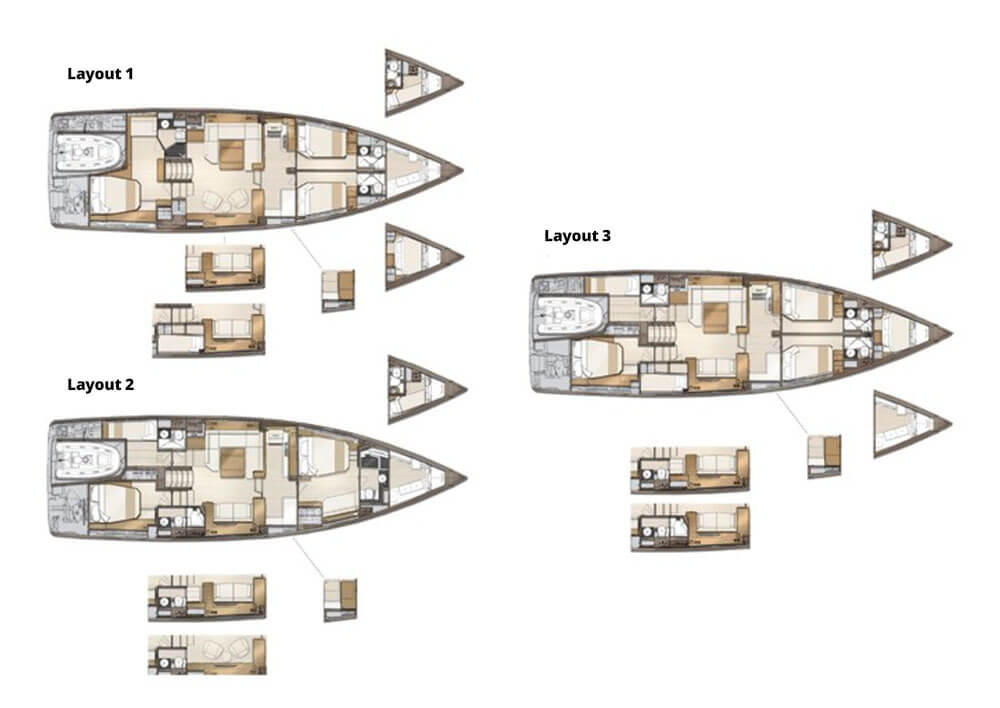 Cabin layout options for Jeanneau 60