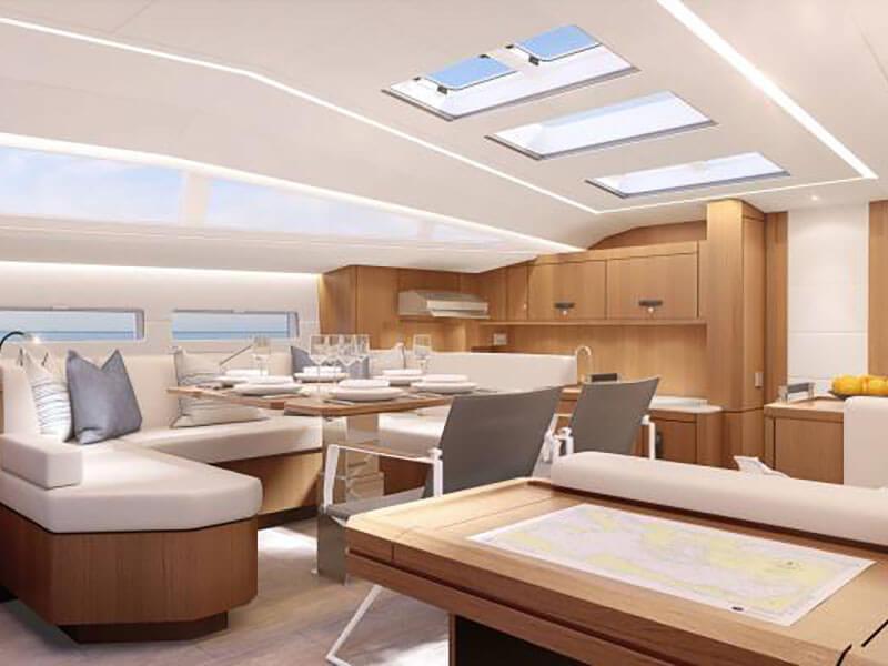 Inside view of Jeanneau 60 yacht