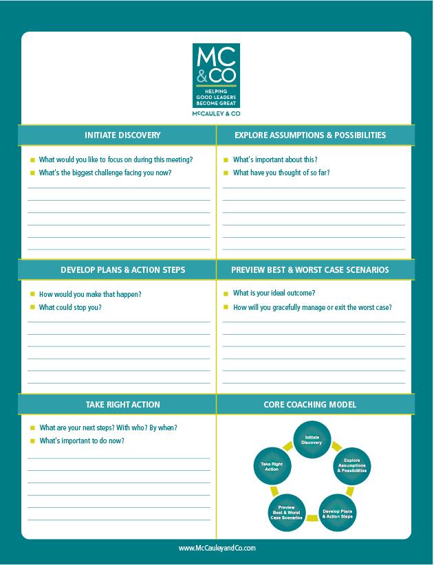 Customized C.O.R.E. Performance Coaching Notepad