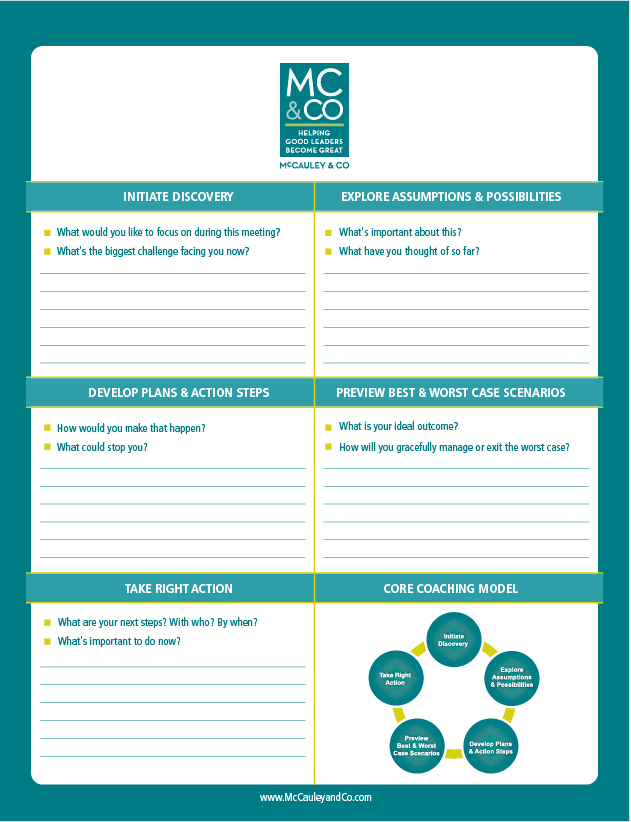 Standard C.O.R.E. Performance Coaching Notepad
