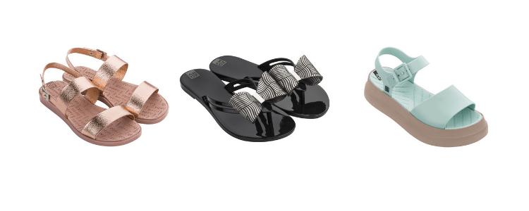 Modelos da nova coleção da Zaxy, disponíveis para compras no site da Daniel Atacado.