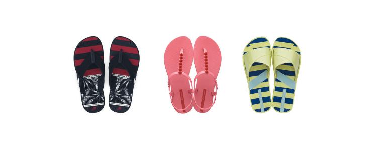 Chinelos, sapatilhas e sandálias fotografados por cima.