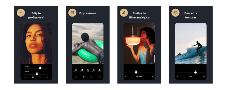 Imagens do aplicativo VSCO mostrando suas funcionalidades.