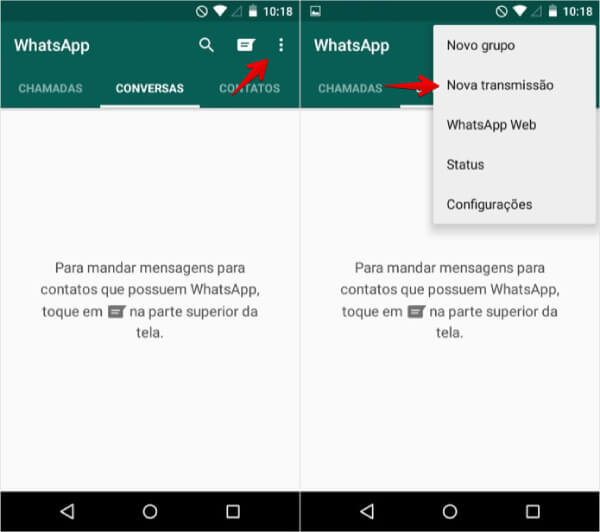 Telas do WhatsApp Business demonstrando como criar listas de transmissão no aplicativo.