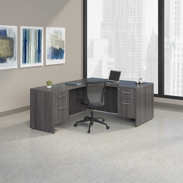 Skyline Private Office L-Shape hanging ped