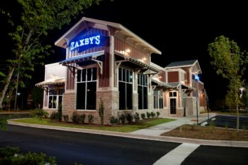 Zaxby's Restaurant Silo Building Exterior at Night