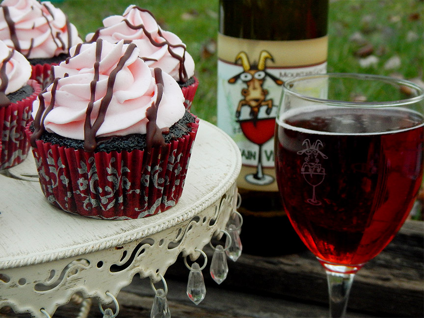 Dark Chocolate Red Wine Cupcakes