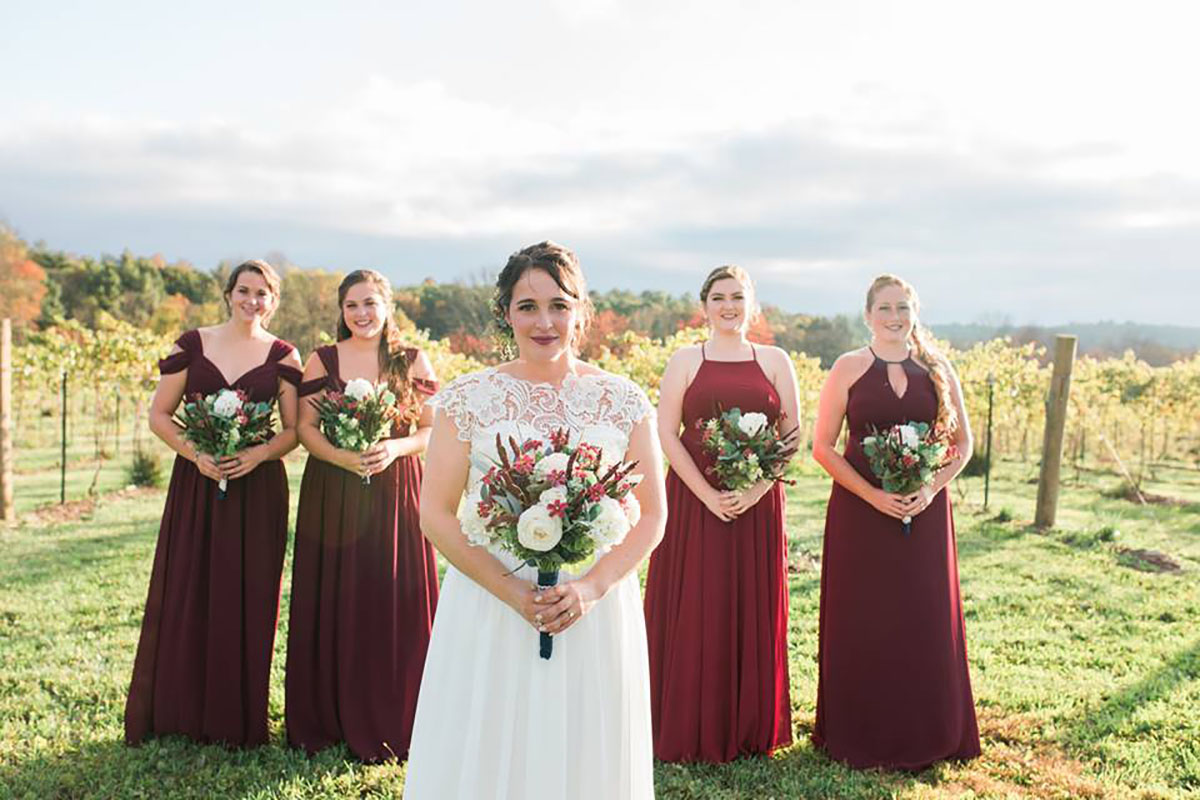 Bridal party at a vineyard wedding in Stroudsburg, Pennsylvania.