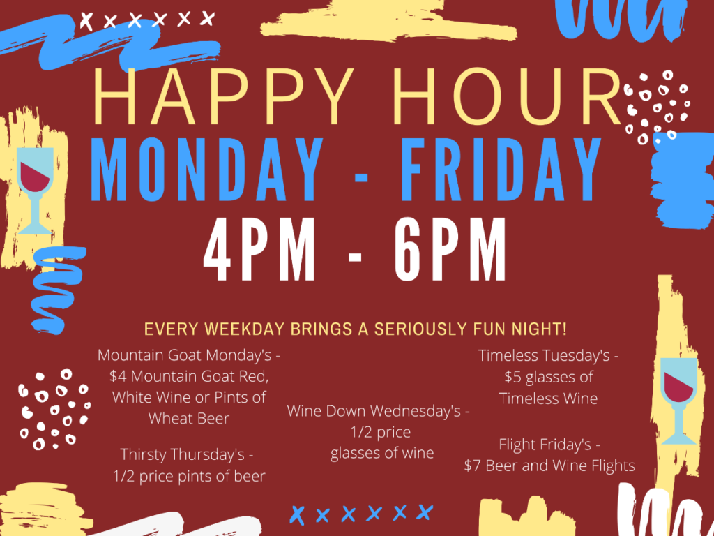 Make us your after work spot! Enjoy these daily specials! 1/2 off appetizers 3PM - 5PM Monday - Friday!