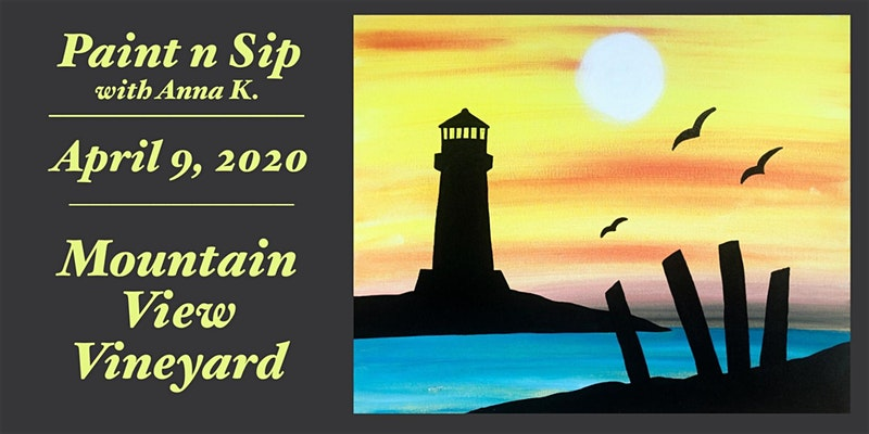 "Come out on April 9 to paint this Lighthouse Sunset at Mountain View Vineyard! All supplies are included, canvases are 16""x20""... No experience necessary- Anna K. makes channeling your inner artist easy and fun! Anna will guide you throughout the evening and give you additional personal help if desired or needed. No stress! Your first glass wine or draft beer is also included so come prepared to have a good time! Snacks will be available for purchase~ Please respect our policy of no outside food or beverages. Arrive 15-20 minutes early to check in and choose your seats- ESPECIALLY if you are part of a group that wants to sit together. Message Art by Anna K. on Facebook or email artbyannak@yahoo.com with any questions. We hope to see you there! Cheers!"