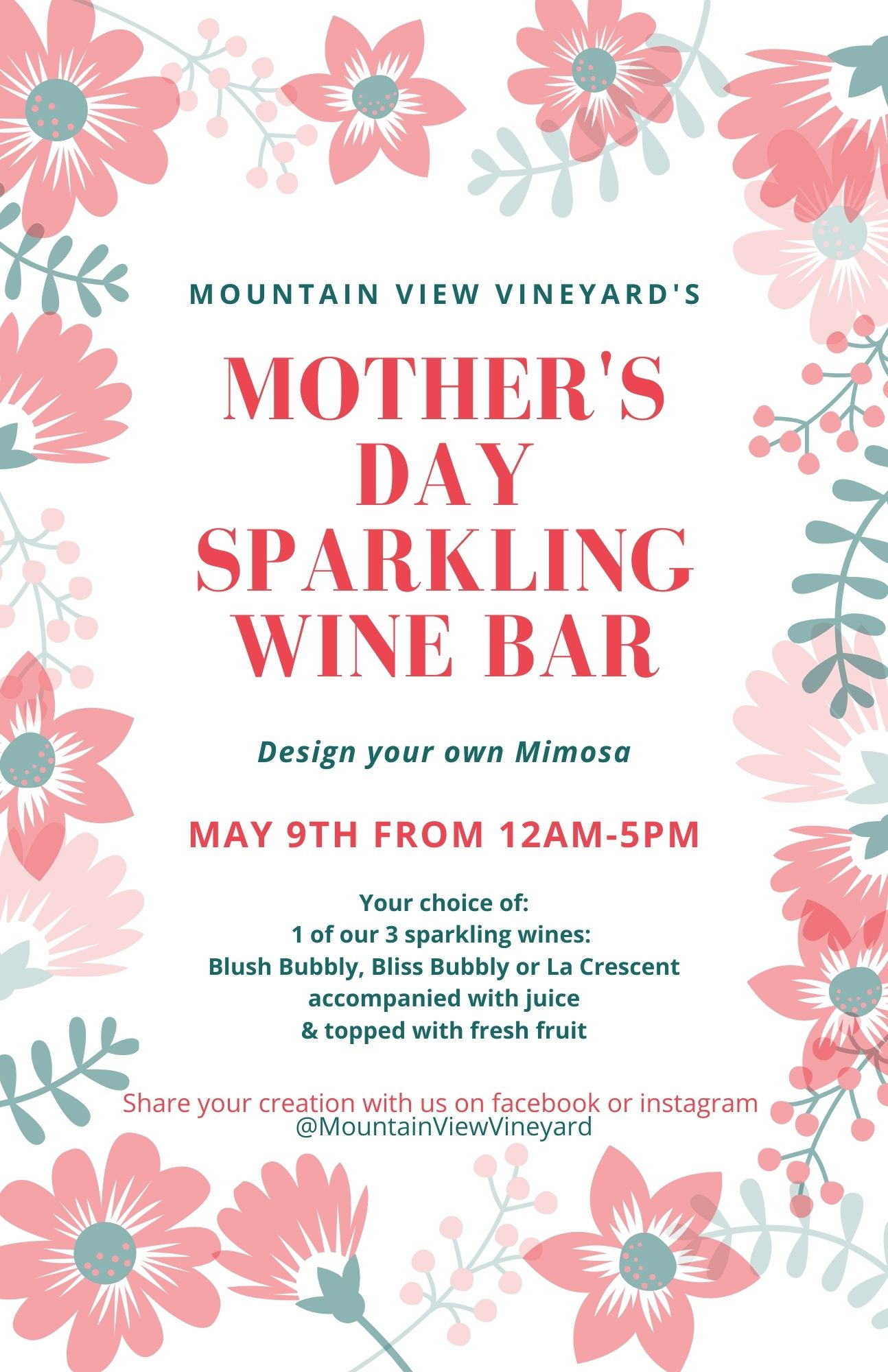 Mother's Day sparkling wine bar