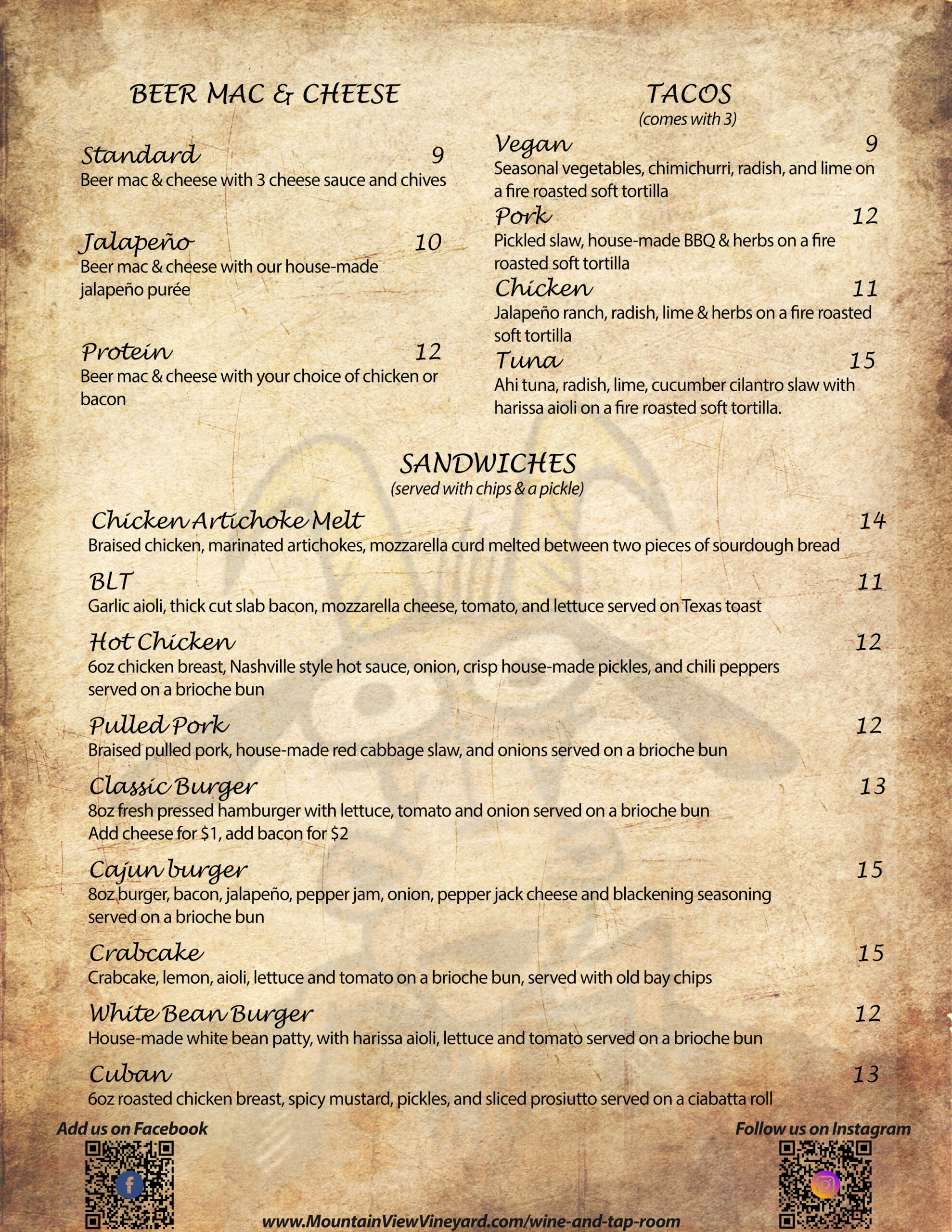 summer menu back
