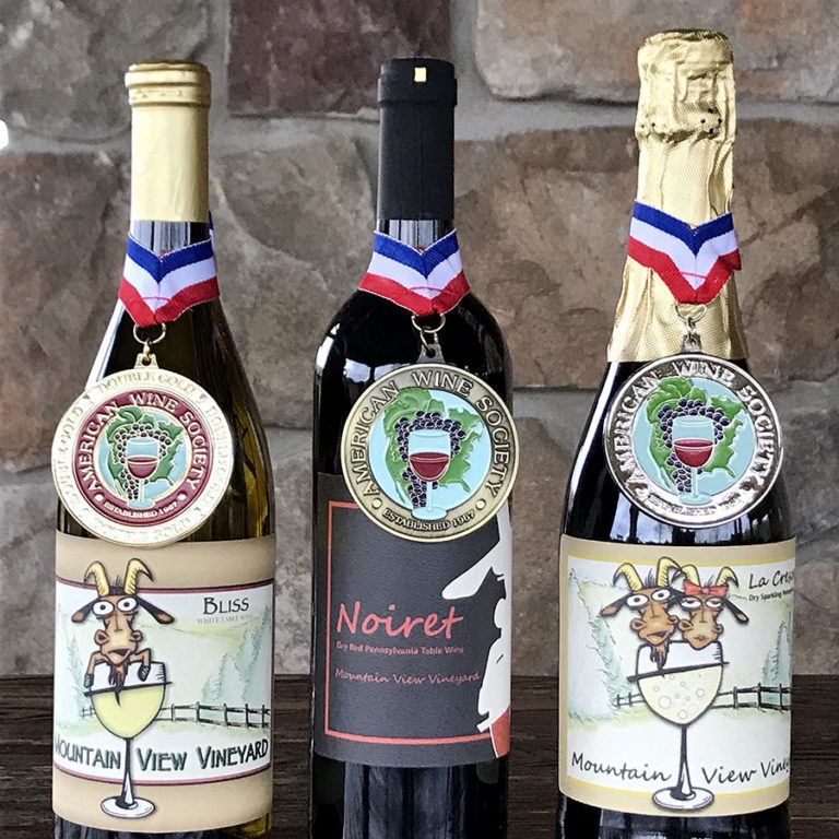 Three Pennsylvania wines with American Wine Society medals. Double gold, gold, and silver.