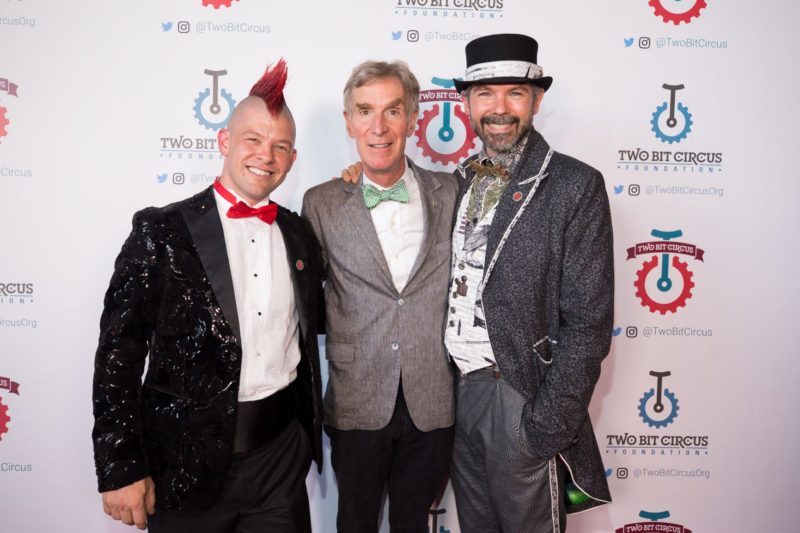 """Founders Brent & Eric of Two Bit Circus with Bill Nye """"the science guy"""" for the grand opening."""