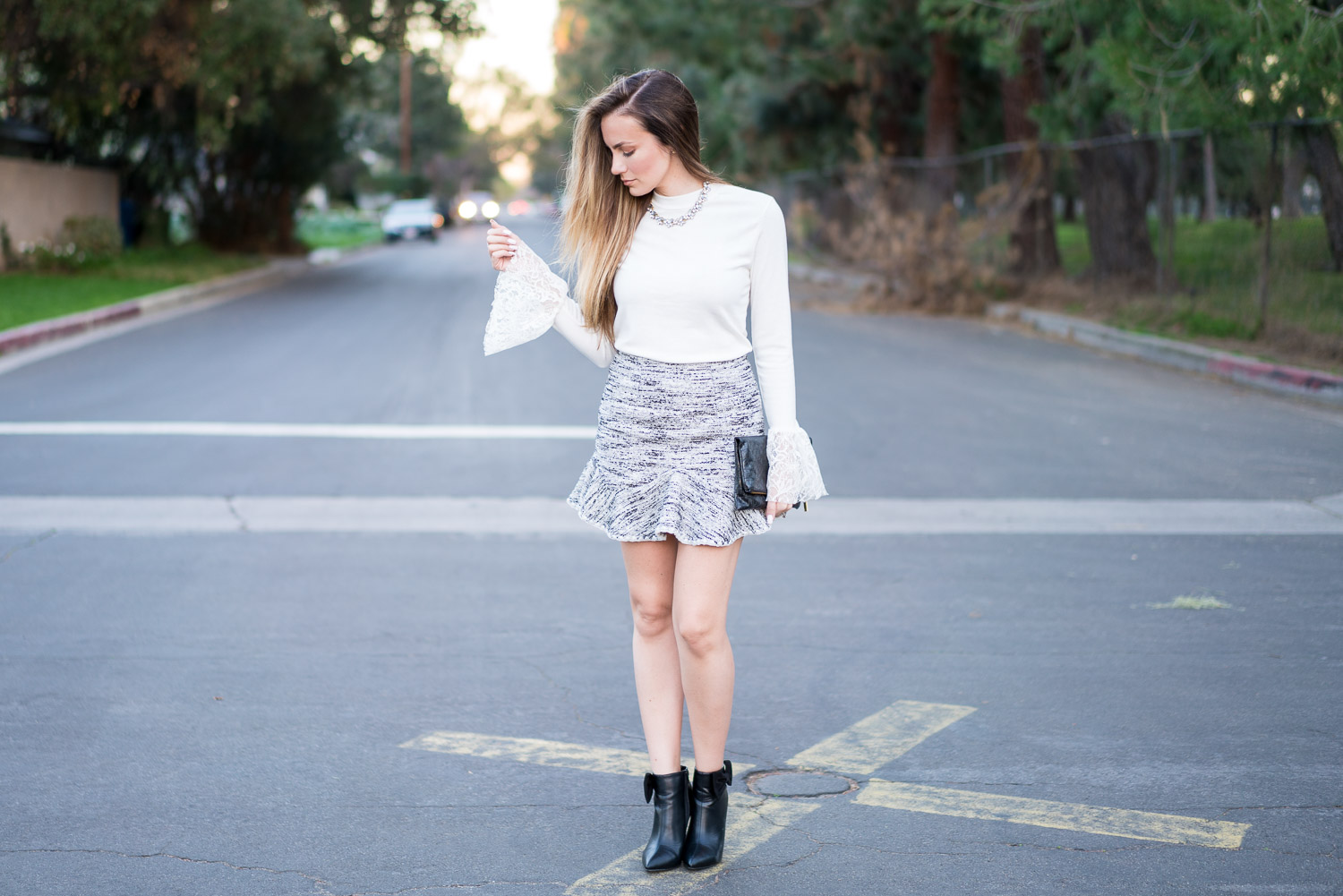 Storets Lace Bell Sleeves, ruffle skirt and ShoeDazzle bow booties