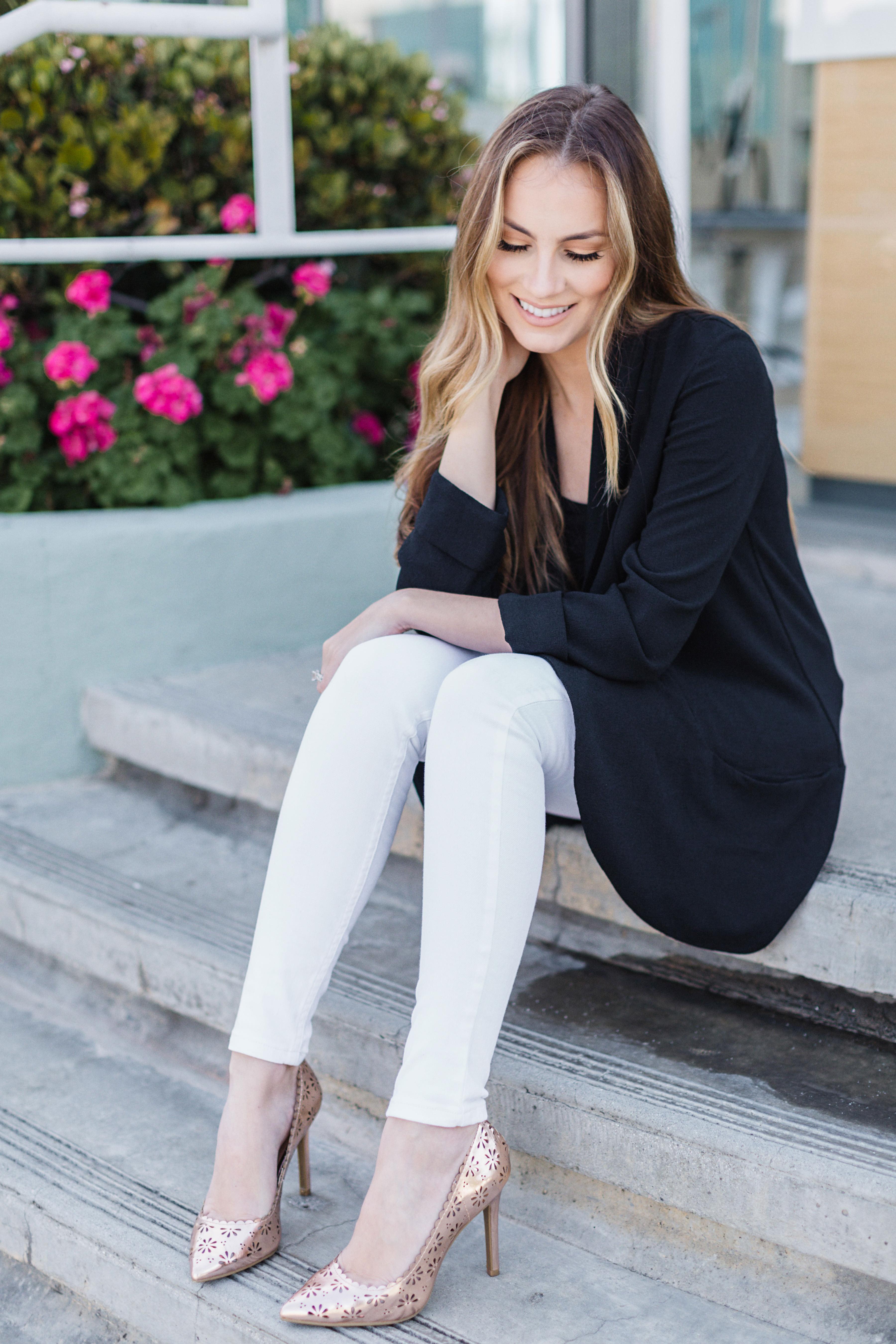 Lauren Conrad blazer, levi's white skinny jeans