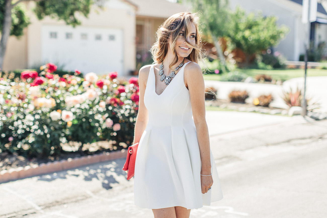 ASOS white skater dress and justfab bow floral heels