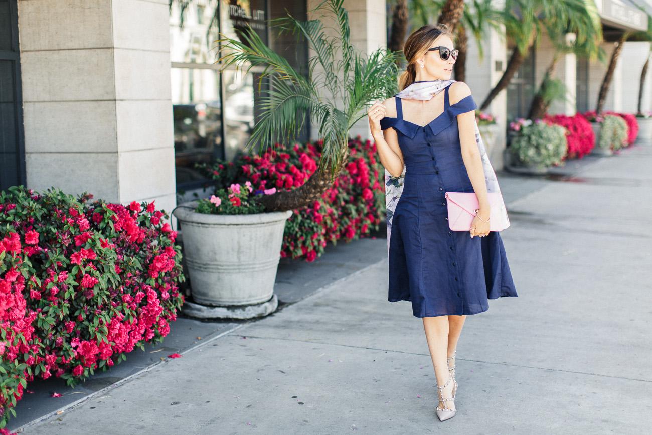 ASOS navy off-the-shoulder dress and valentino rockstud heels angela lanter hello Gorgeous
