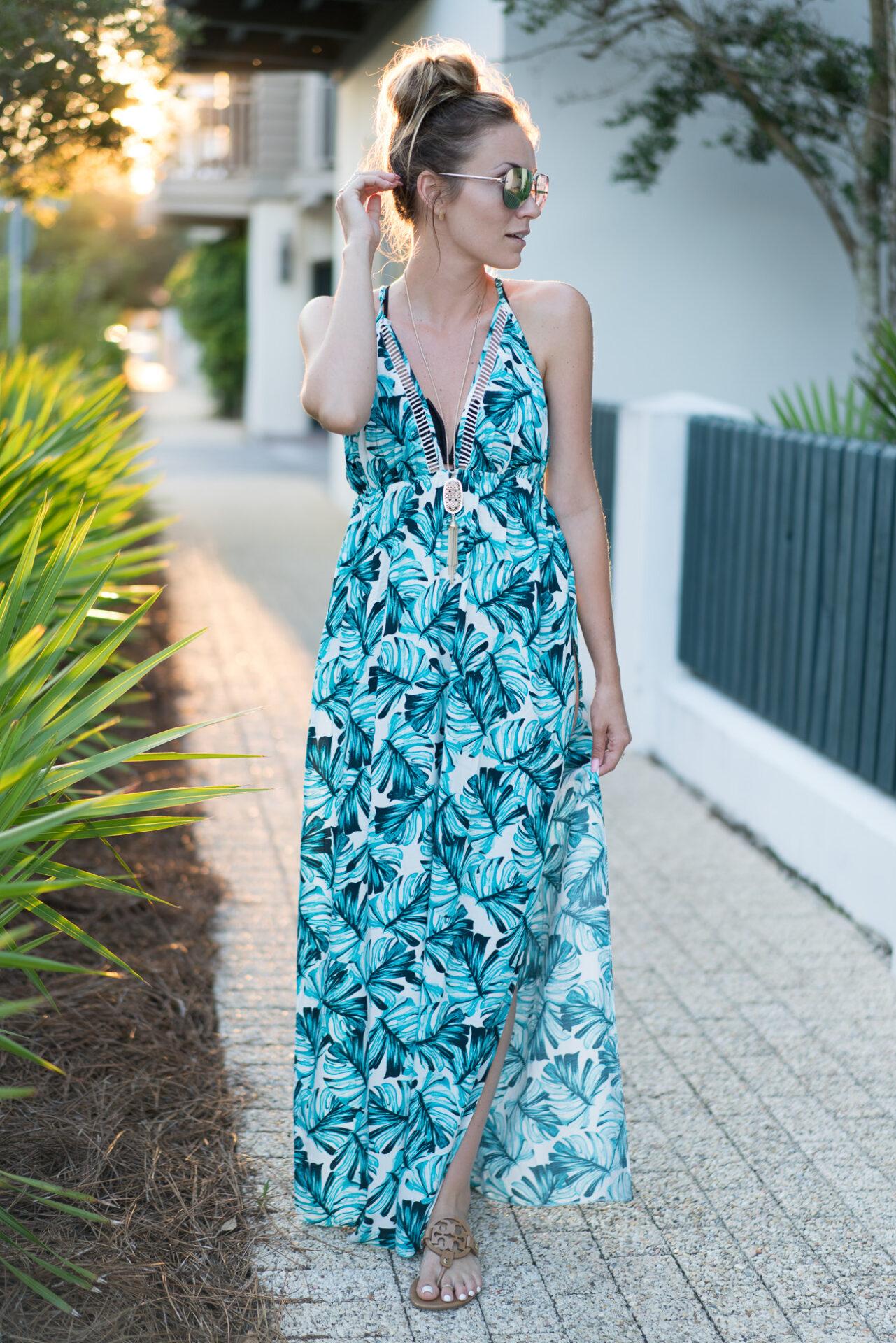 ASOS palm leaf print maxi dress swimsuit cover-up angela lanter hello gorgeous