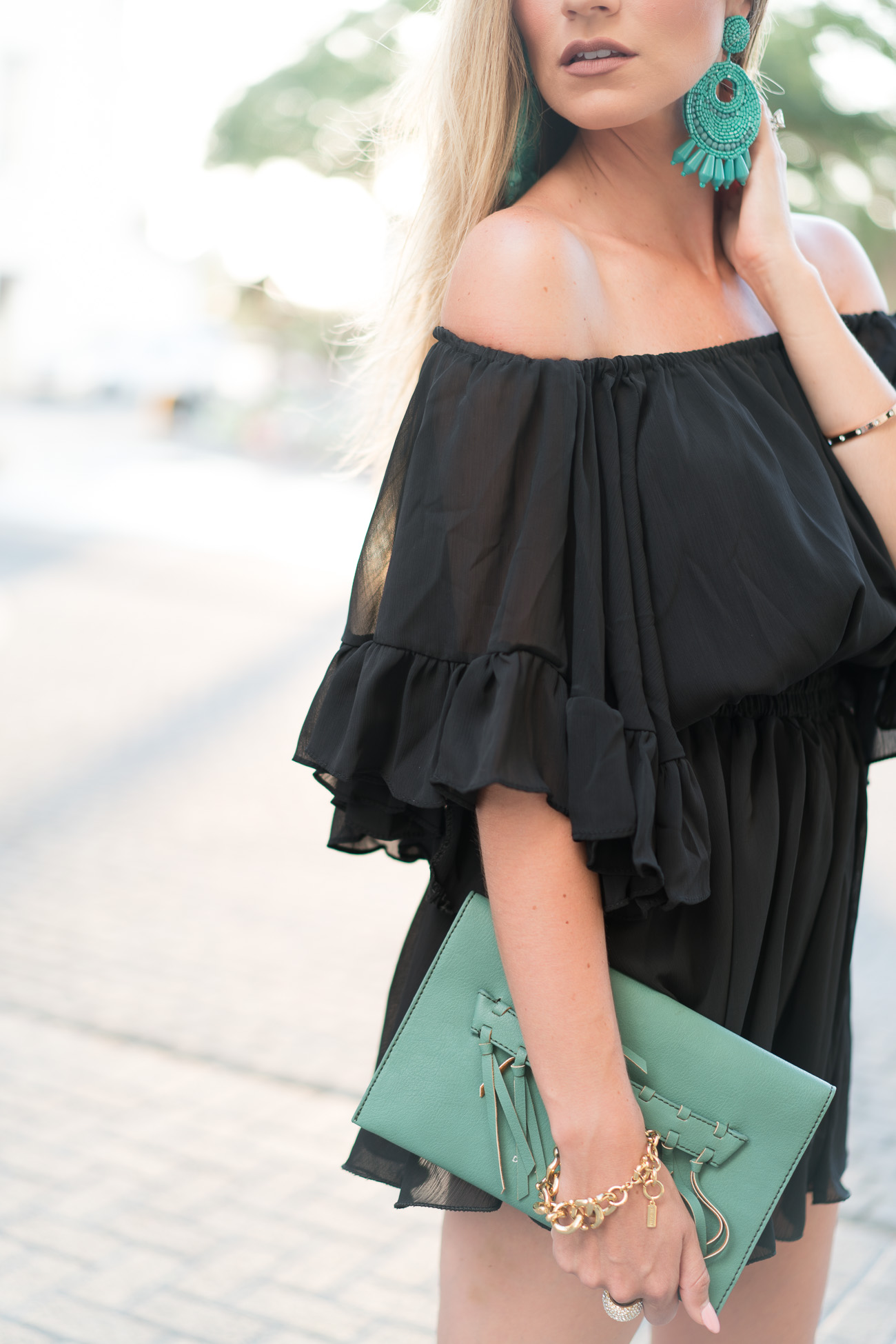 ruffled chiffon black romper turquoise earrings and SheIn online order review angela lanter hello gorgeous