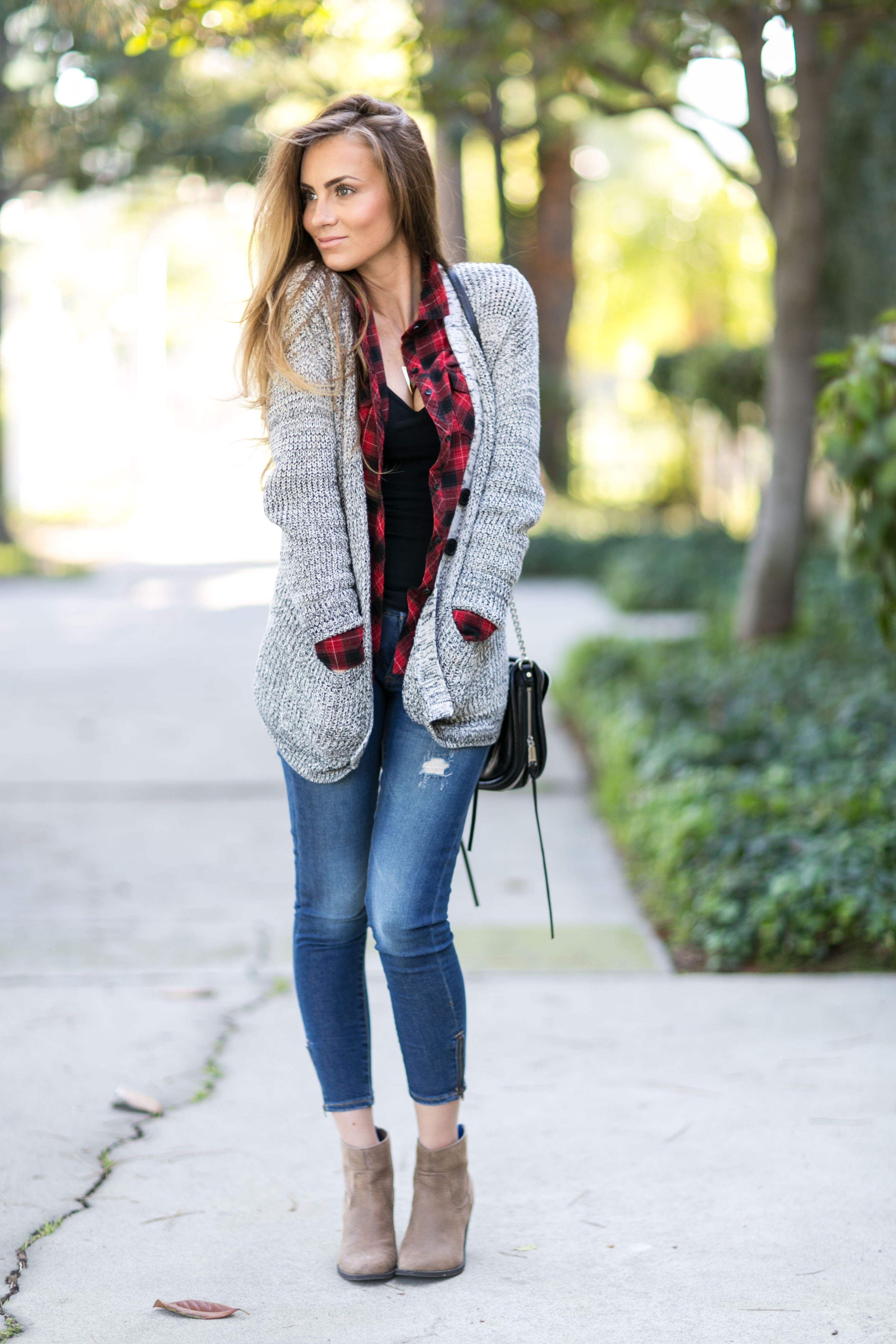 red plaid flannel shrt grey cardigan skinny jeans fall outfit angela lanter hello gorgeous