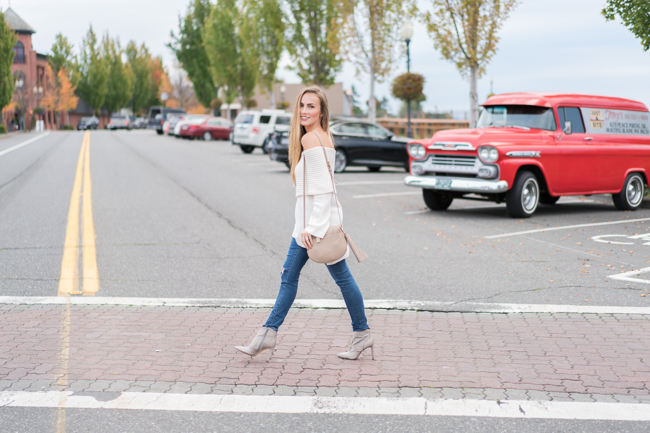 Off the shoulder cream Nordstrom sweater distressed skinny jeans and sam edelman Bradley booties angela lanter hello gorgeous