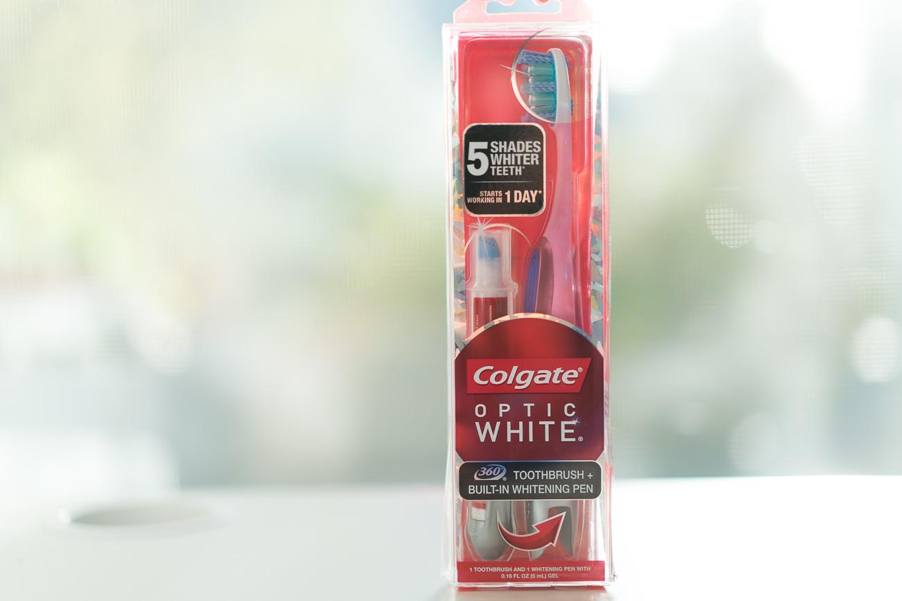 Colgate Optic White whitening toothbrush and pen angela lanter hello gorgeous