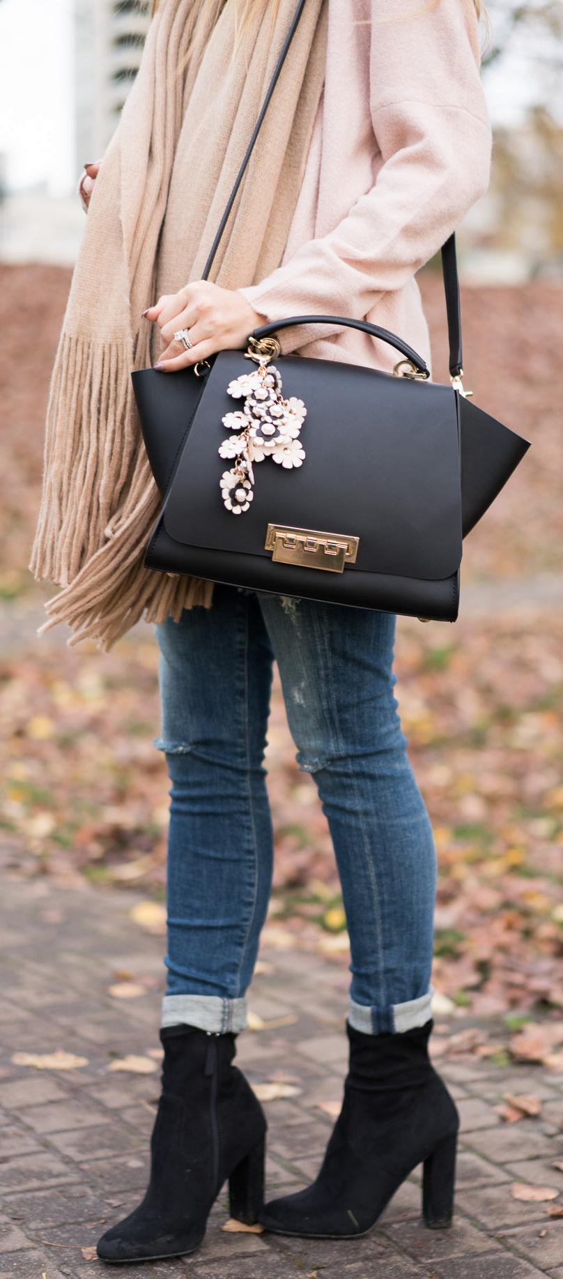 Fall Outfit: Blush Sweater - Legging Ankle Jeans - Scarf - Booties - Zac Zac Posen Handbag - Spring Earthette Floral Charm. Angela Lanter - Hello Gorgeous.