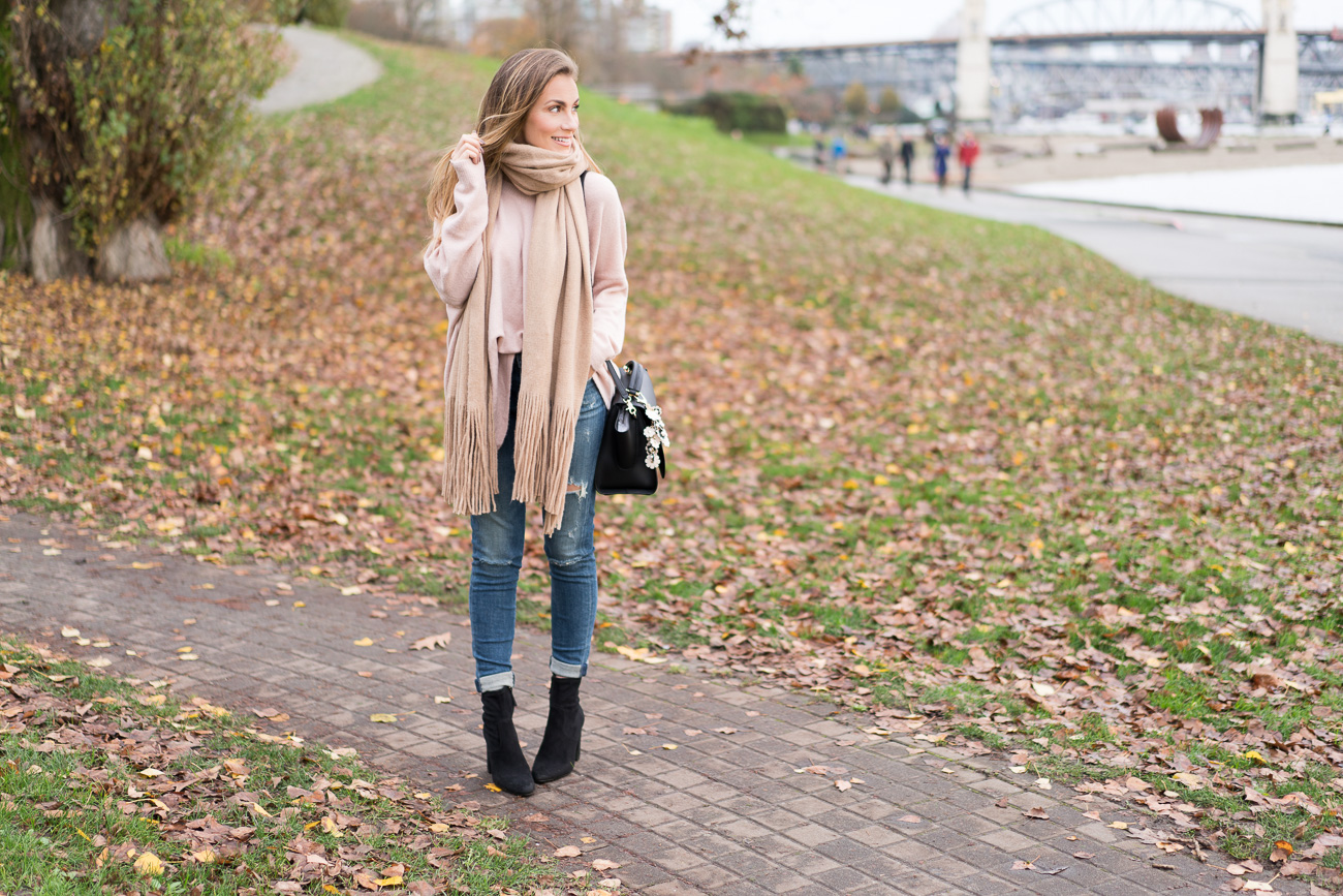 My Blogging Story blush pink sweater distressed skinny jeans black booties free people oversized scarf nordstrom casual outfit of the day angela lanter hello gorgeous