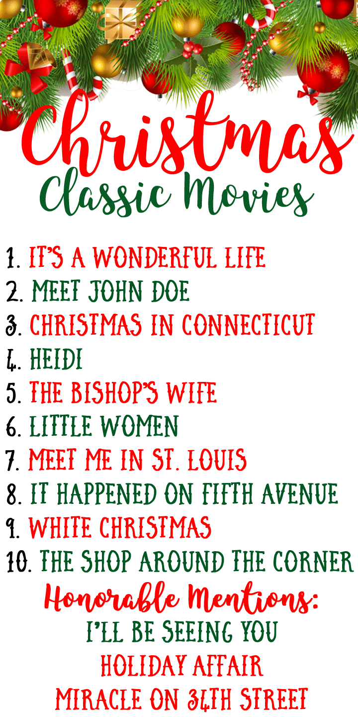 Top 10 Classic Christmas Movie list angela lanter hello gorgeous old hollywood holiday