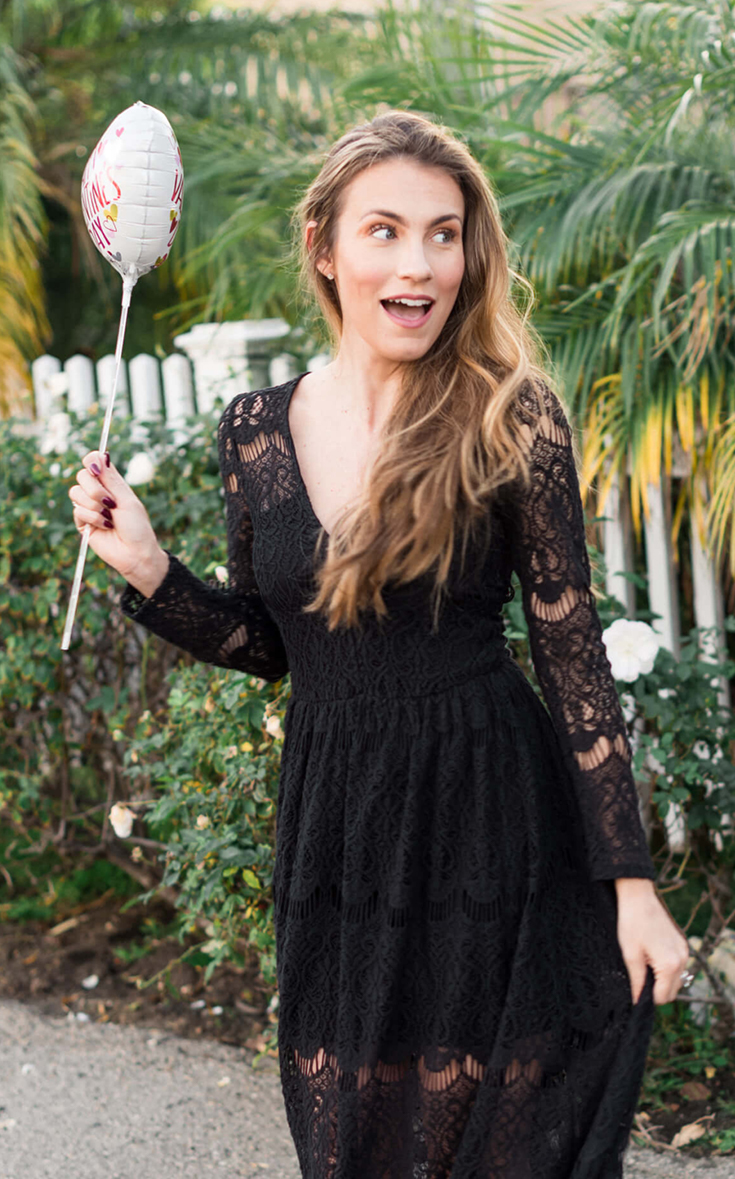 Angela Lanter Outfit, Long Black dress for Valentine Day