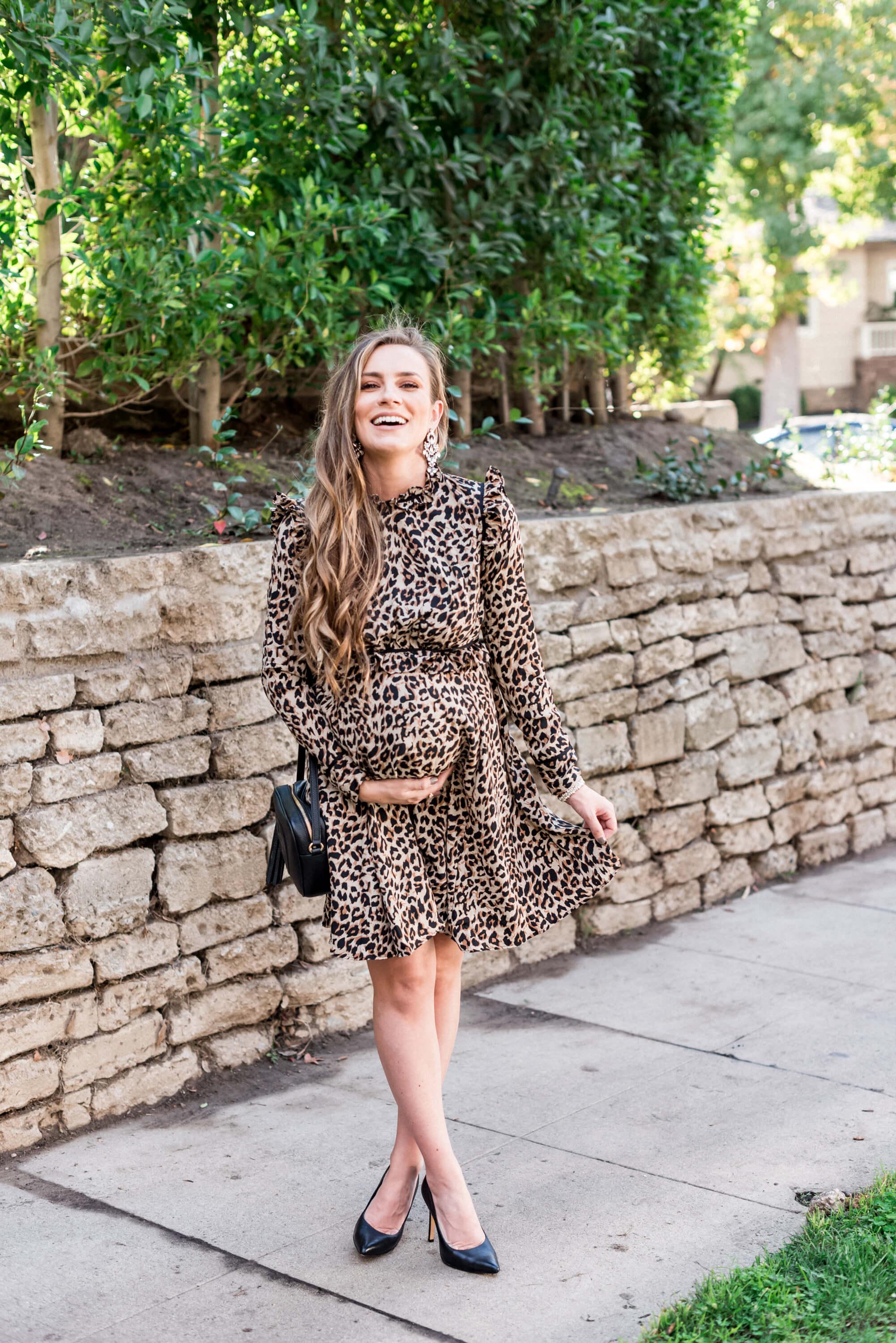 angela Lanter Hello Gorgeous maternity style leopard print dress ASOS