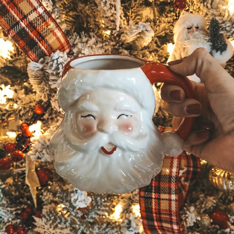 angela lanter hello gorgeous santa coffee mug christmas home decor tree plaid ribbon