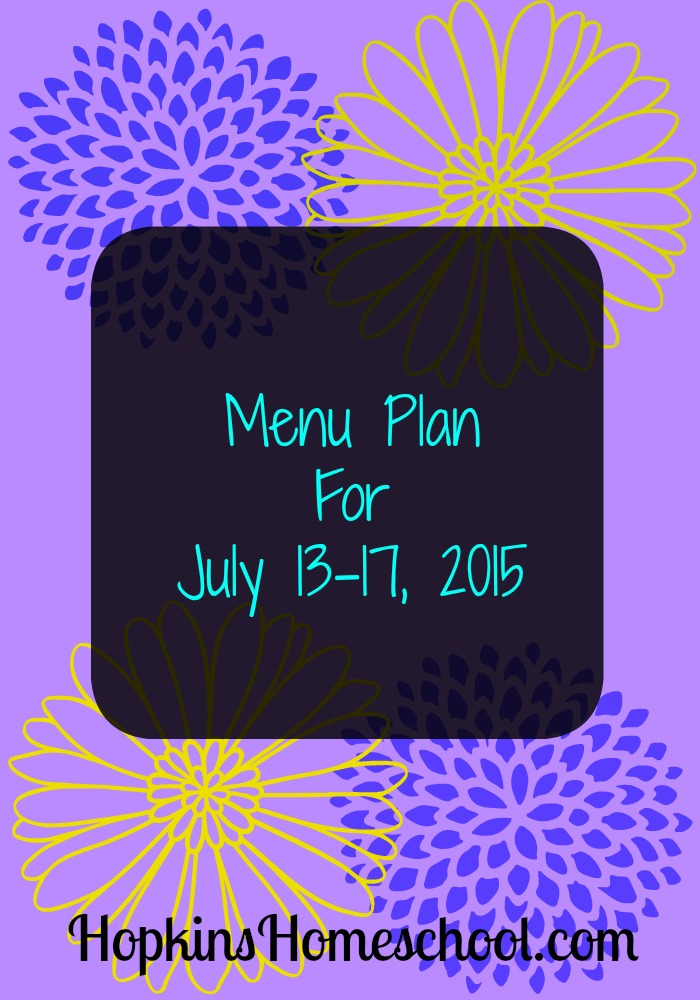Menu Plan for July 13
