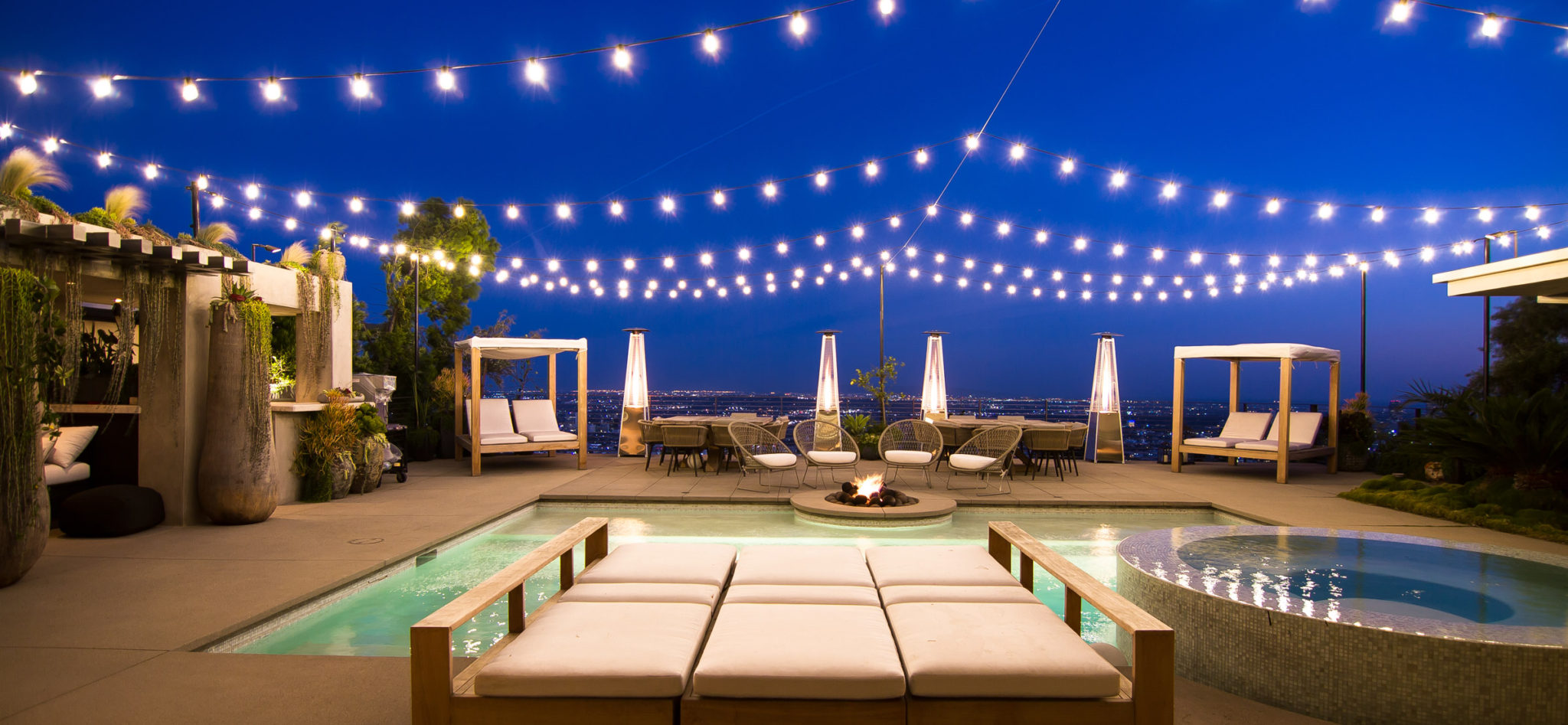 Year-Round Lighting Installation - Overhead Pool Lighting