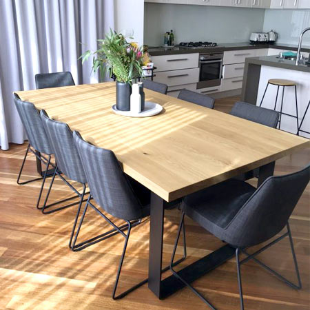 American oak dining room table image