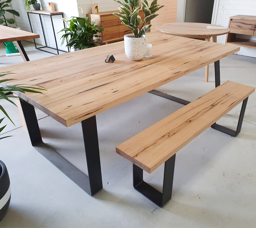 Hoop leg dining with bench style seating