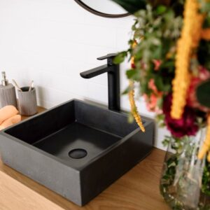Square vessel basin tap hole