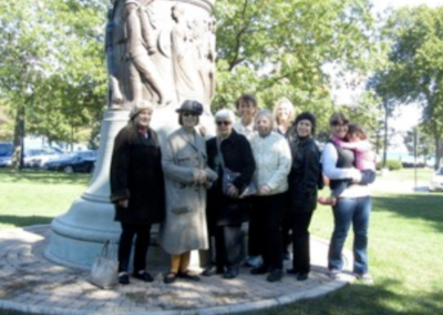 Fort Dearborn members visit the DAR Memorial Flagpole in Patriots Park.