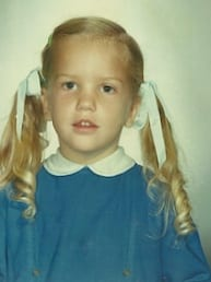 lisbeth 5 or 6 years old blue dress